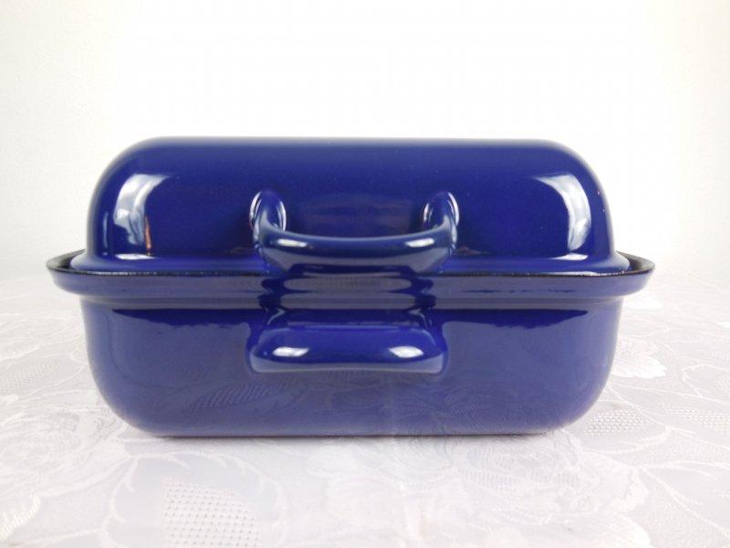 riess premium emaille bratpfanne mit deckel br ter pfanne bratpfanne 37x26 blau. Black Bedroom Furniture Sets. Home Design Ideas
