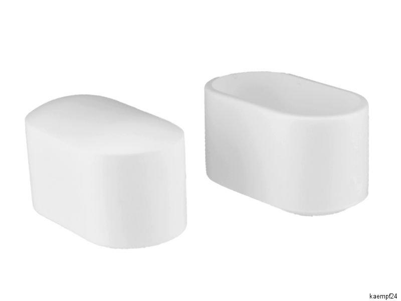 4 x fusskappen 38 x 20mm wei stuhlkappen rohrkappen kappen gartenst hle ebay. Black Bedroom Furniture Sets. Home Design Ideas