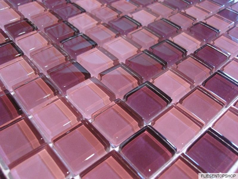 glasmosaik mosaik fliesen klarglas 8mm brombeer pink rose lila bad dusche 1qm. Black Bedroom Furniture Sets. Home Design Ideas