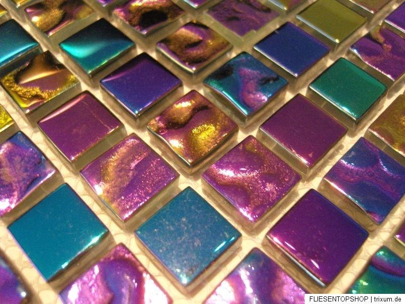 purple rain glas mosaik fliesen gold pink gr n blau lila purple perlmutt effekt ebay. Black Bedroom Furniture Sets. Home Design Ideas