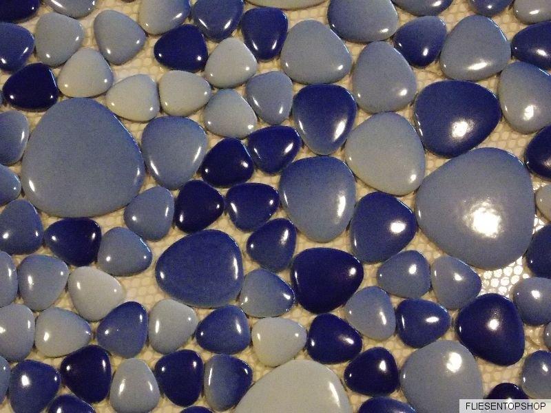 keramik mosaik fliesen keramikmosaik kiesel kieselstein optik blau hellblau mix ebay. Black Bedroom Furniture Sets. Home Design Ideas