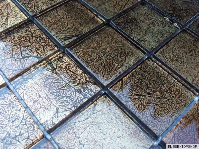 Mosaico in vetro effetto piastrelle trasparente metallo nero oro 8mm bagno - Piastrelle effetto metallo ...