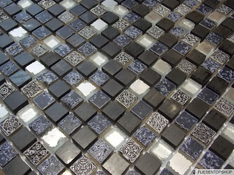 glasmosaik mosaik fliesen klarglas schwarz silber. Black Bedroom Furniture Sets. Home Design Ideas