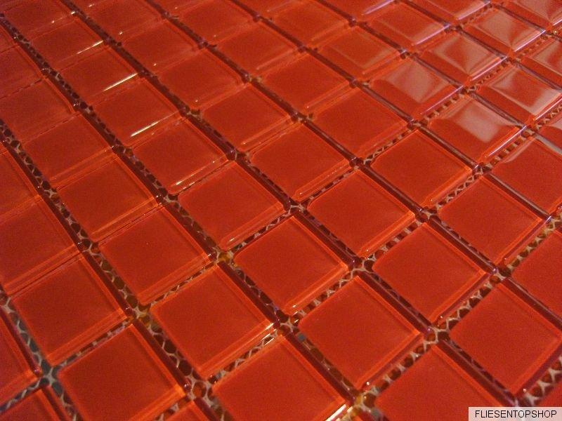 1 qm glasmosaik mosaik fliesen klarglas 4 mm rot bad dusche pool k che sauna. Black Bedroom Furniture Sets. Home Design Ideas