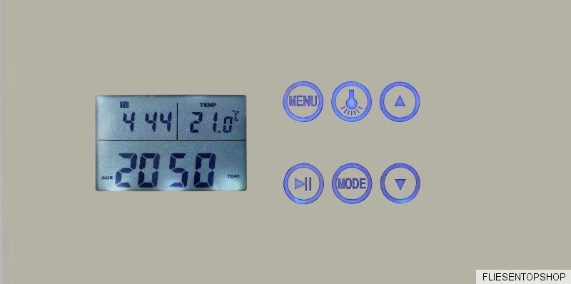 Spiegel mit uhr und licht ql33 hitoiro for Badspiegel mit radio