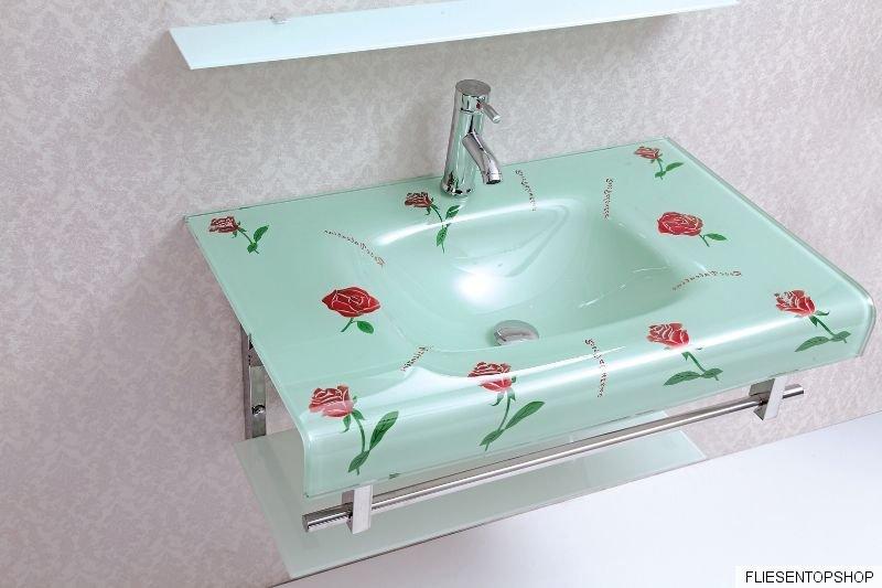 glas waschtisch rosen design waschbecken glasablage g ste wc wt3007 inkl spiegel ebay. Black Bedroom Furniture Sets. Home Design Ideas