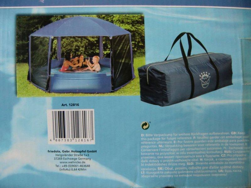 Wehncke pavillon pool blau 260 cm schwimmbecken garten for Gartenpool ebay