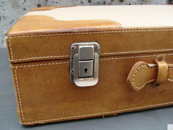 vintage gro er bree aktenkoffer koffer leinen leder ebay. Black Bedroom Furniture Sets. Home Design Ideas