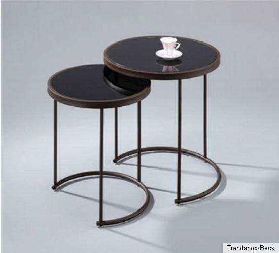 2 tlg satztisch beistelltisch tisch beistelltische for Schwarzer kleiner tisch