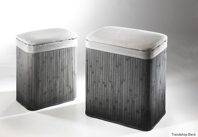 bambus w schekorb mit polster grau w schetruhe. Black Bedroom Furniture Sets. Home Design Ideas