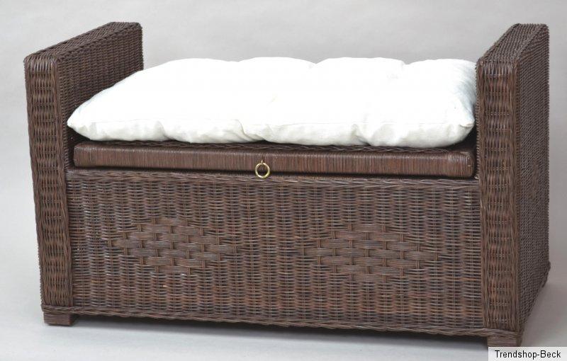 sitztruhe inkl kissen rattan sitzbank hocker bank truhe w schetruhe sitzhocker ebay. Black Bedroom Furniture Sets. Home Design Ideas