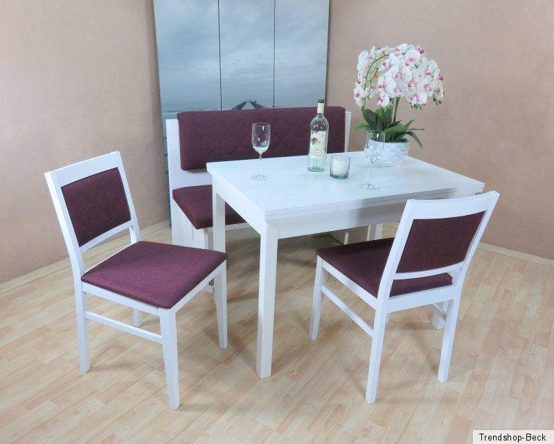 essgruppe 4 tlg esstisch ausziehbar st hle sitzbank farbe buche natur violett ebay. Black Bedroom Furniture Sets. Home Design Ideas