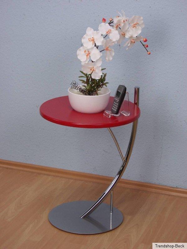 Beistelltisch rot couchtisch tisch verchromt metall mdf ebay for Beistelltisch rot