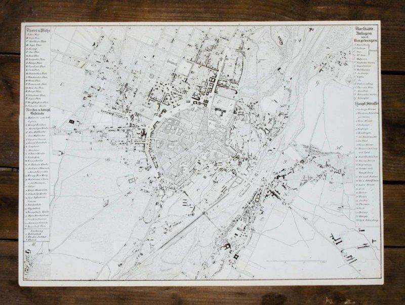 c1835 m nchen munich bavarica lithographie stadtplan von. Black Bedroom Furniture Sets. Home Design Ideas