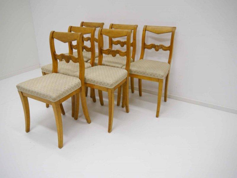 6 biedermeier st hle birke massiv um 1820 ebay. Black Bedroom Furniture Sets. Home Design Ideas