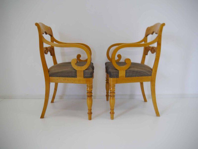 2 biedermeier sessel st hle armlehnst hle birke massiv um. Black Bedroom Furniture Sets. Home Design Ideas