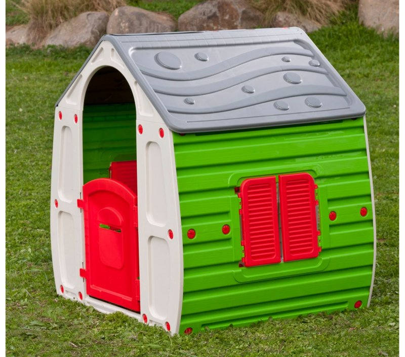 gro es spielhaus f r kinder aus kunststoff mit t ren fenster gartenhaus ebay. Black Bedroom Furniture Sets. Home Design Ideas