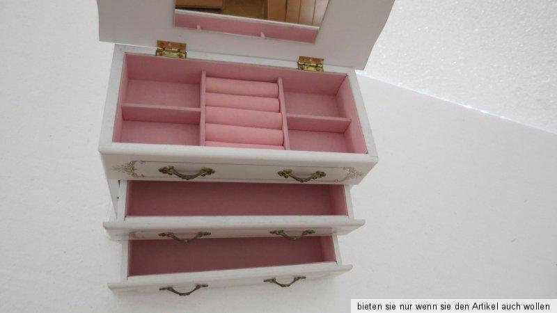 schmuck schatulle kasten schublade shabby chic weiss holz aufbewahrung ebay. Black Bedroom Furniture Sets. Home Design Ideas