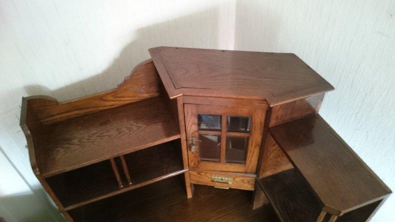 antiker eckschreibtisch mit aufsatz und passendem schrank ebay. Black Bedroom Furniture Sets. Home Design Ideas