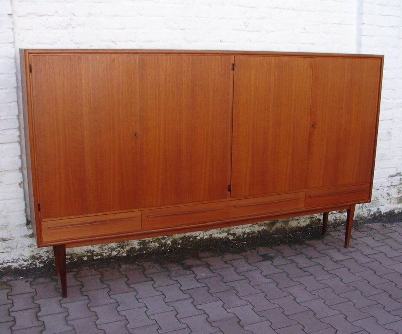 midcentury highbord sideboard anrichte teak holz design um 1970 wk m bel ebay. Black Bedroom Furniture Sets. Home Design Ideas