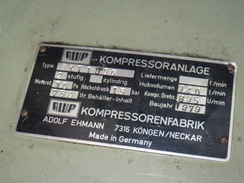 alup kolbenkompressor 3 zylinder kompressor 15 bar 940 l. Black Bedroom Furniture Sets. Home Design Ideas