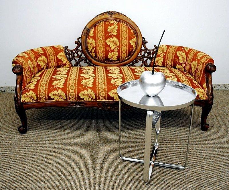 couch recamiere ottomane mahagoni braun walnuss bezug textil ebay. Black Bedroom Furniture Sets. Home Design Ideas