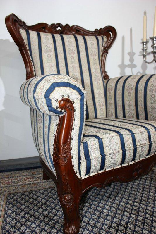 wundersch ner sessel mahagoni barock brown walnuss bezug textil blau ebay. Black Bedroom Furniture Sets. Home Design Ideas