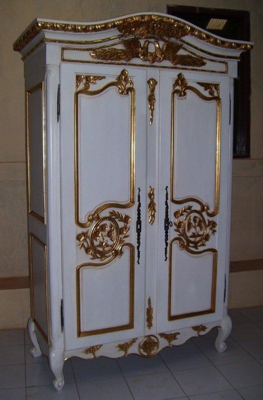 kleiderschrank antik white gold mahagoni massiv ein. Black Bedroom Furniture Sets. Home Design Ideas