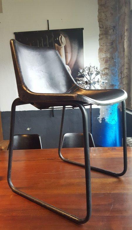 1 stuhl leder sitzschale metallgestell 1 von 8 for Stuhl industriedesign
