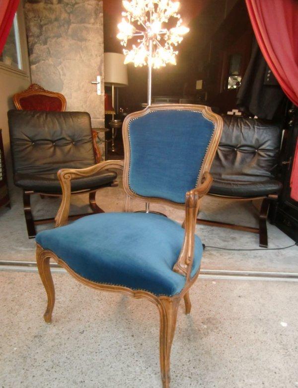 Alter sessel armlehnstuhl barock samt blau ebay for Samt sessel blau