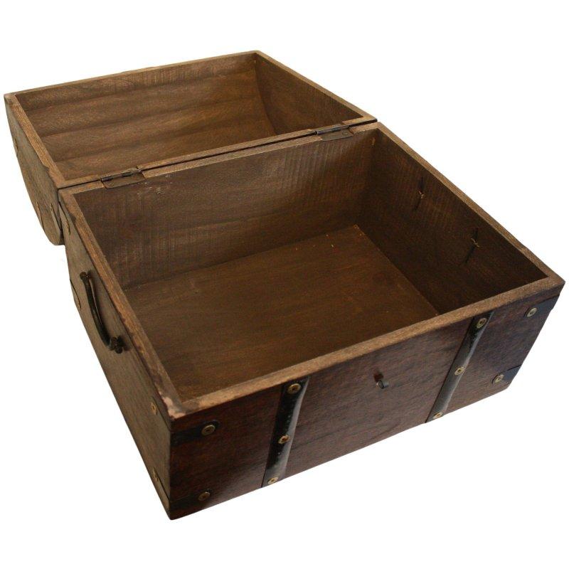 schatztruhe commerciante holztruhe mit schloss aus holz schatzkiste 34x26x25 ebay. Black Bedroom Furniture Sets. Home Design Ideas