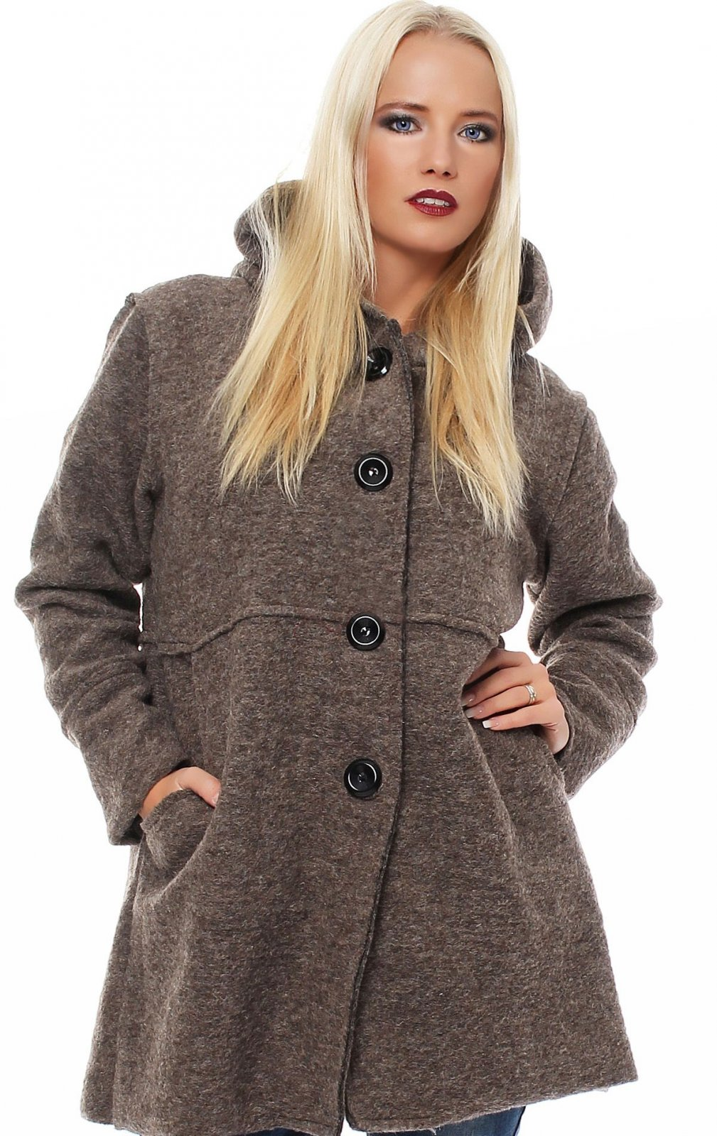 damen herbst winter jacke wolljacke strickjacke wollmantel mit kapuze cardigan ebay. Black Bedroom Furniture Sets. Home Design Ideas