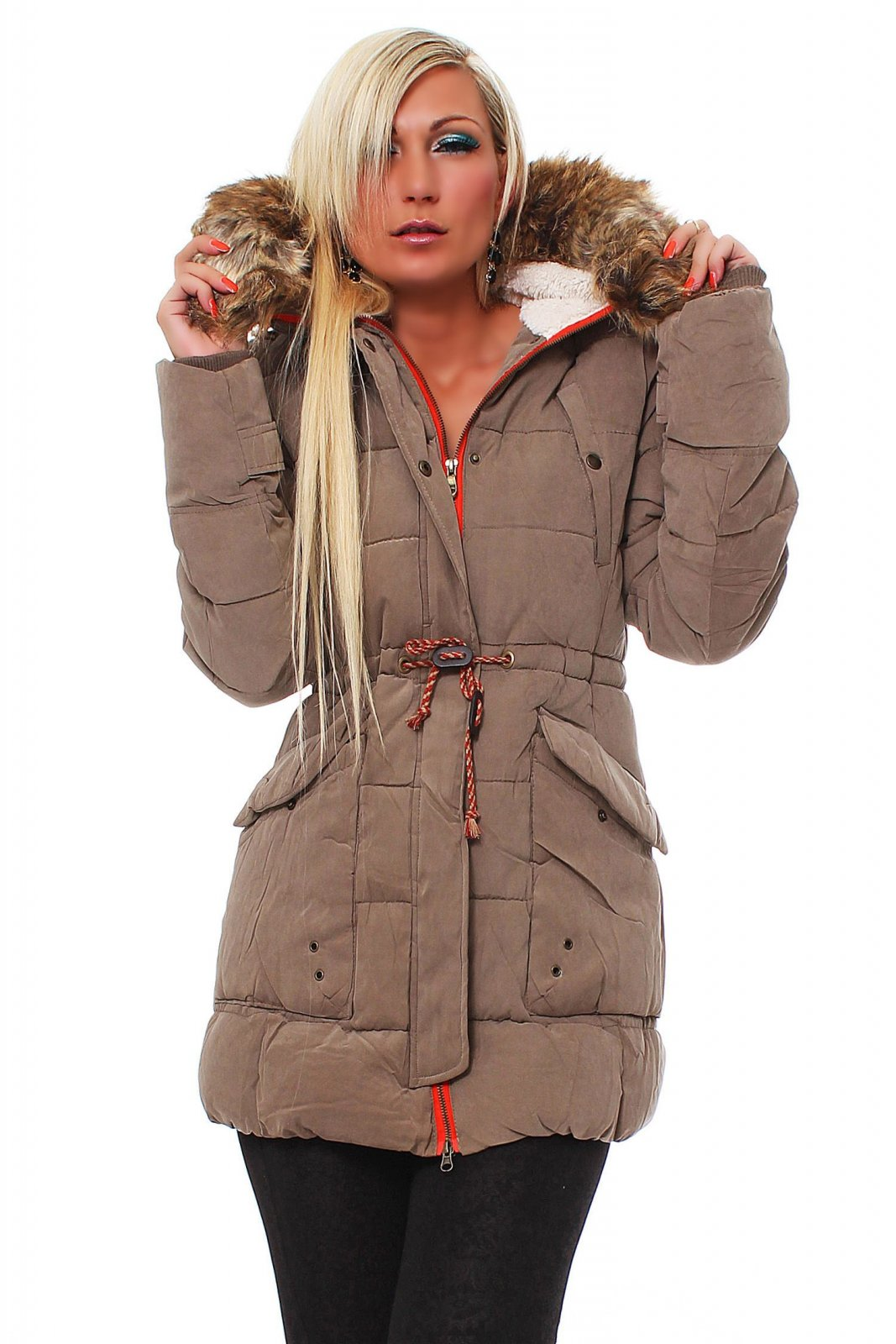 damen winterjacke mit kapuze wintermantel parka lang fell daunen ebay. Black Bedroom Furniture Sets. Home Design Ideas