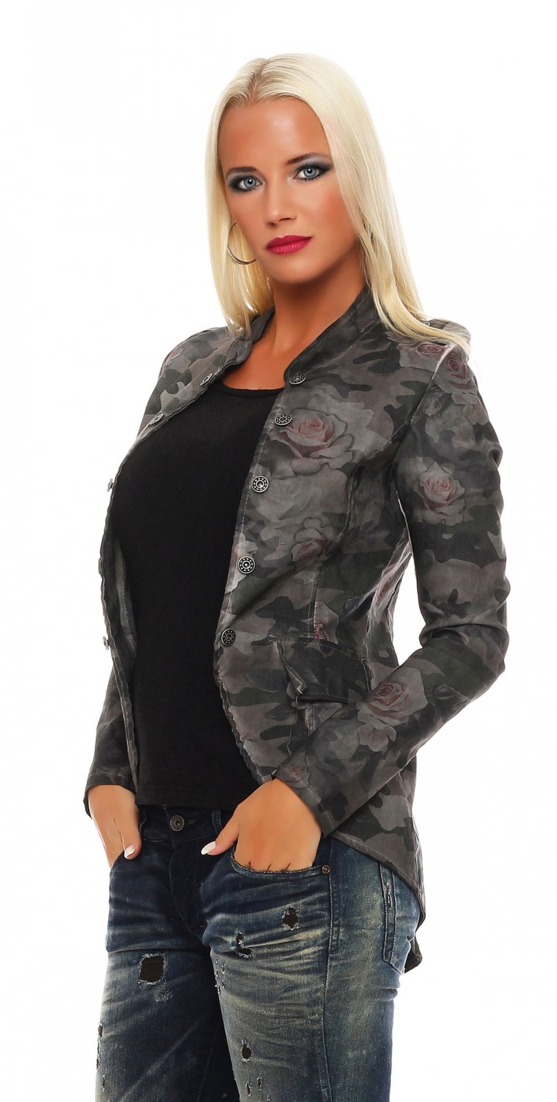 damen blazer jacke military jacket camouflage uniform stil. Black Bedroom Furniture Sets. Home Design Ideas