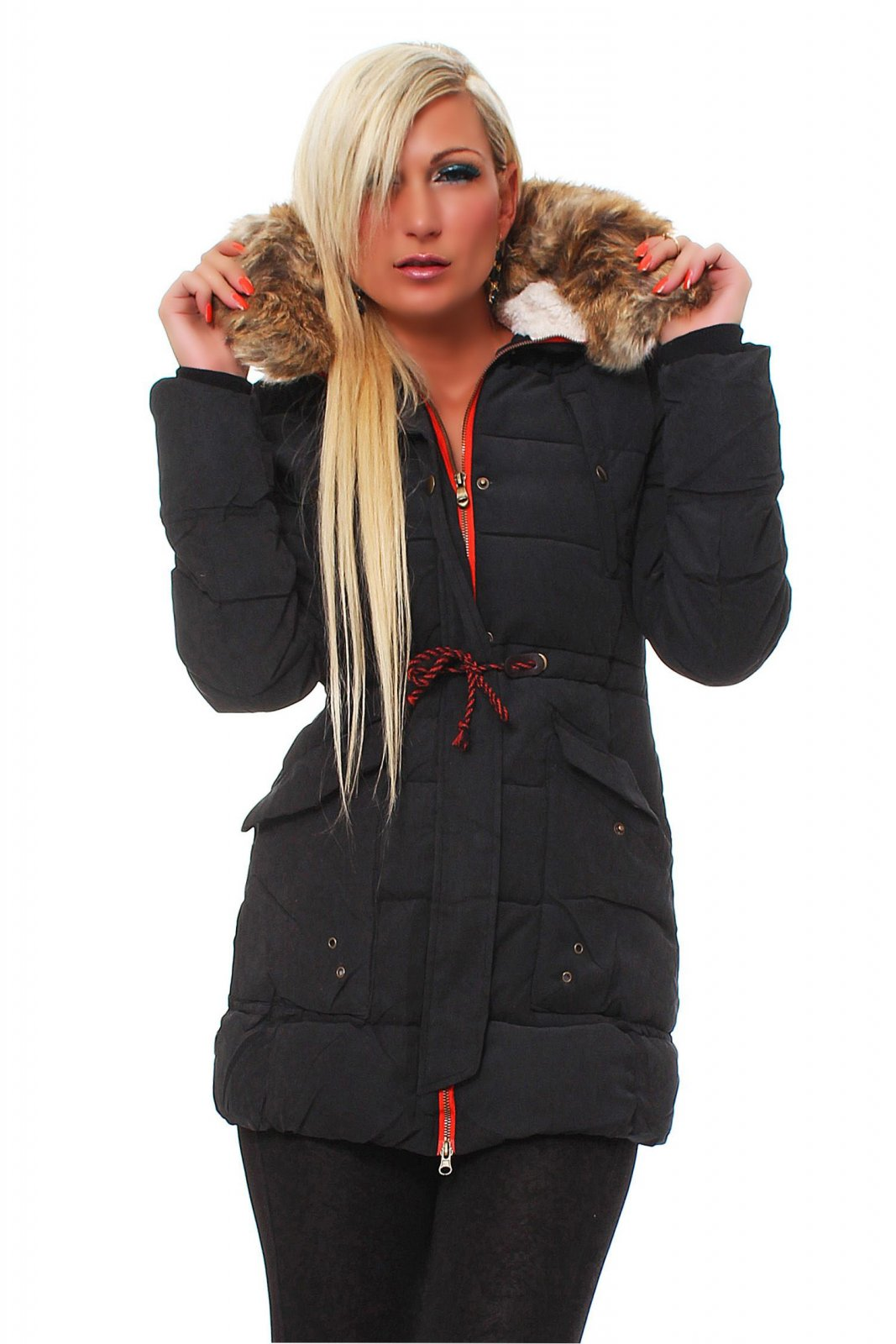 damen winterjacke mit kapuze wintermantel parka lang fell. Black Bedroom Furniture Sets. Home Design Ideas