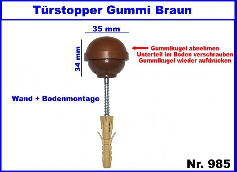 1 stk t rstopper gummi braun f r boden wandmontage 35 x. Black Bedroom Furniture Sets. Home Design Ideas