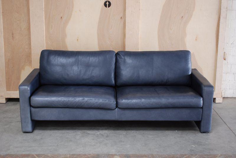 cor conseta ledersofa sofa dunkelblau leder ebay. Black Bedroom Furniture Sets. Home Design Ideas