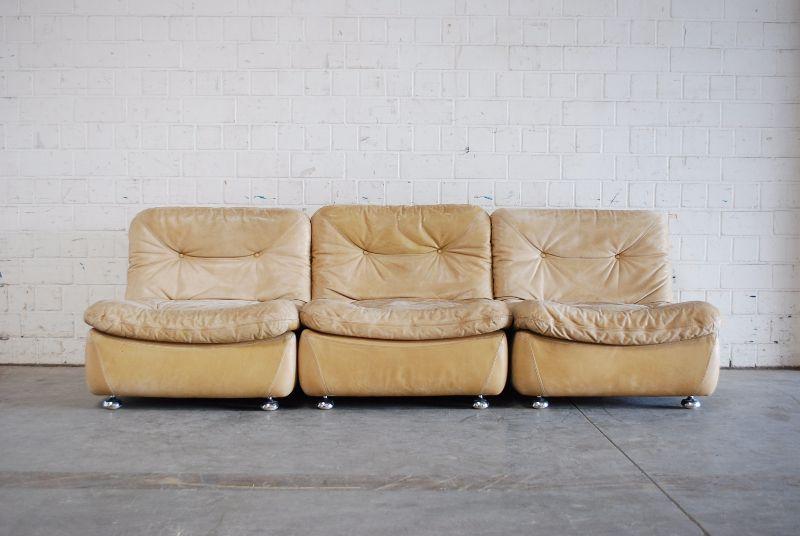 Vintage 70er modul wohnlandschaft ledersofa karamell sofa for Wohnlandschaft retro
