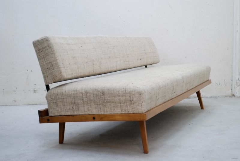florence knoll 60er raw daybed sofa beech ebay. Black Bedroom Furniture Sets. Home Design Ideas
