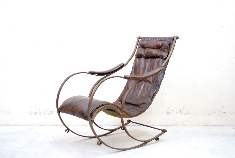 Peter cooper rare iron rocking chair sessel ledersessel for Schaukelstuhl 1850