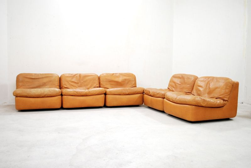 dreipunkt vintage 70er modular wohnlandschaft ledersofa cognac sofa ebay. Black Bedroom Furniture Sets. Home Design Ideas