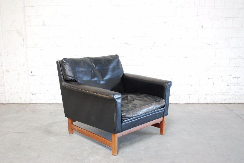 danish modern sessel ledersessel 60er vintage ebay. Black Bedroom Furniture Sets. Home Design Ideas