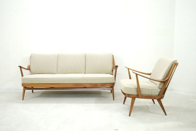 knoll antimott mid century 60er sofa walnut ebay. Black Bedroom Furniture Sets. Home Design Ideas
