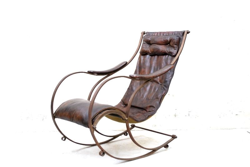 Peter cooper rare iron rocking chair sessel ledersessel for Schaukelstuhl unterlage
