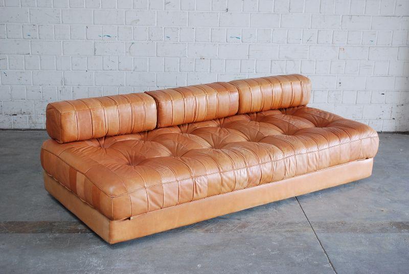 de sede ds 80 vintage daybed sofa ledersofa schlafsofa brandy cognac stahlrohr ebay. Black Bedroom Furniture Sets. Home Design Ideas