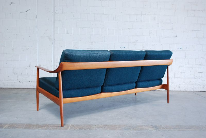 fine knoll antimott petrol sofa 60er danish teak ebay. Black Bedroom Furniture Sets. Home Design Ideas