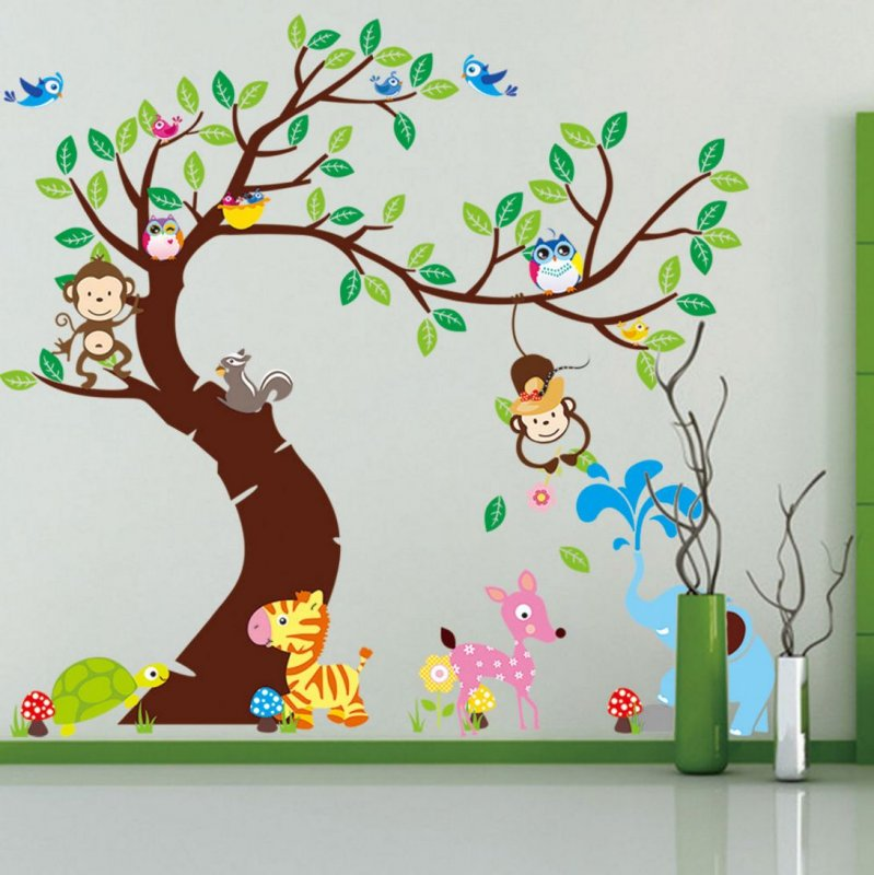 wandtattoo wandsticker tiere wald baum spielzimmer affe kinderzimmer baby xxxl ebay. Black Bedroom Furniture Sets. Home Design Ideas