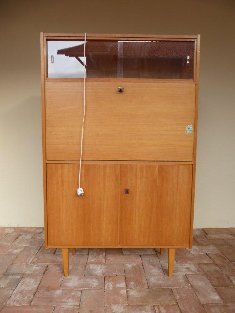 50s 60s schreibschrank schreibtisch desk r ster ulme esche 50er 60er beleuchtet ebay. Black Bedroom Furniture Sets. Home Design Ideas