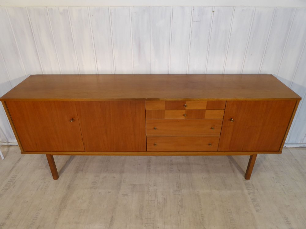 50s mid century lowboard sideboard kommode teak intarsien 50er 60er 200cm retro ebay. Black Bedroom Furniture Sets. Home Design Ideas
