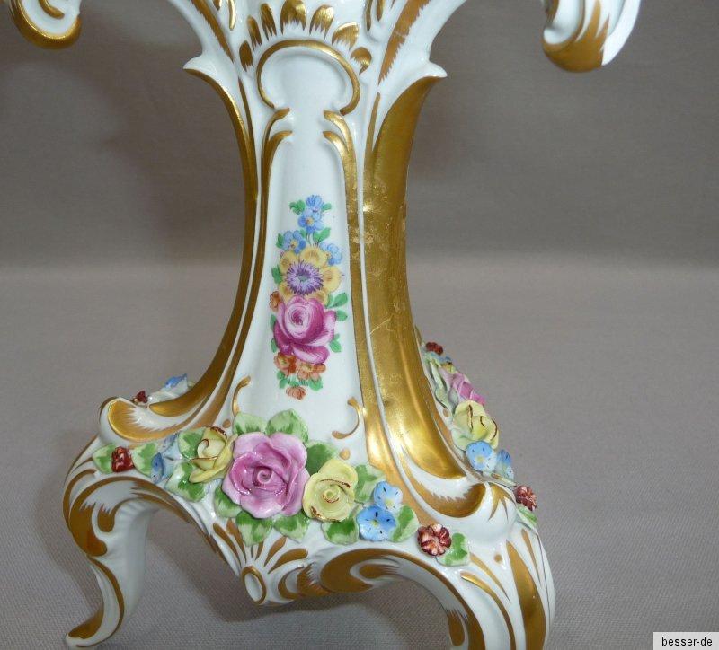 dresden porzellan leuchter 3 flammig besch digt tafelleuchter sandizell h ffner ebay. Black Bedroom Furniture Sets. Home Design Ideas